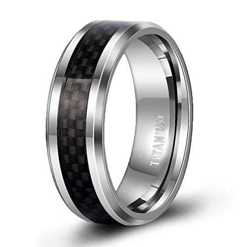 TIGRADE 8MM Men's Titanium Black Carbon Fiber Inlay Beveled Edges Ring Wedding Band Comfort Fit Size 5-15(7.5)