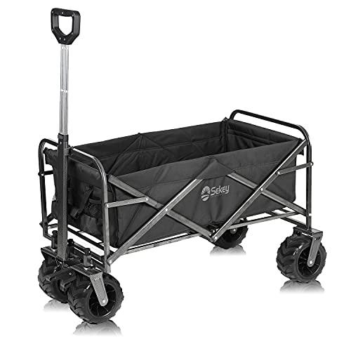 Sekey foldable wagon, folding handcart with Brake, wheelbarrow, beach...