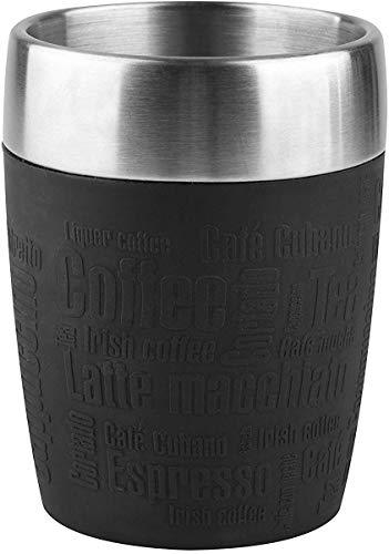 Emsa 514514 TRAVEL CUP tasse isotherme, mug avec couvercle, revêtement silicone, 200ml, Noir