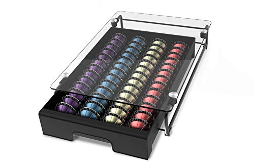 EVERIE Crystal Tempered Glass Top Organizer Drawer Holder Compatible with Nespresso Vertuo Capsules, Compatible with 40 Big or 52 Small Vertuoline Pods, 12'' Wide by 16.5'' Deep by 3.5'' High