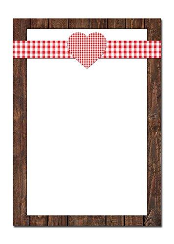 50 vellen briefpapier printpapier ROOD wit geruit hart houtlook lijst bruin eenzijdig bedrukt 100 g schrijfpapier motiefpapier DIN A4 briefblad Beieren Beierse Design-Papier