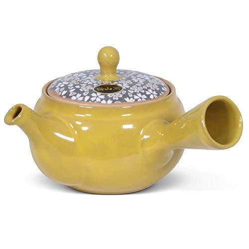 Tetera original (Kyusu) en diseño retro de Karu – Tetera de 300 ml de tono natural (amarillo mostaza) con colador de té integrado, perfecta para té verde y negro