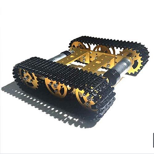 ACC DIY montierte verfolgte Roboter-Tank-Chassis-Smart-Auto-Plattform, dualer DC 9V-Motor und dauerhafter Aluminiumlegierungsmaterial für Erwachsene und Kinder, Gold