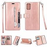 SCRENDY Funda para Samsung Galaxy A22 5G, Carcasa Billetera con 9 Tarjetero Fundas Wallet Case para Mujeres con Libro Tapa con Cuero Premium Magnético-Oro Rosa