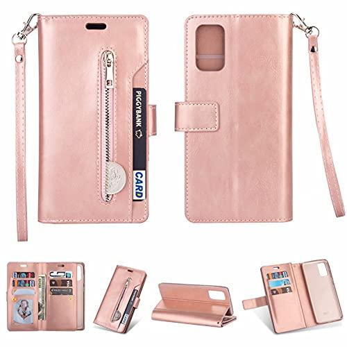 SCRENDY Funda para Xiaomi Redmi Note 10 Pro, Carcasa Billetera con 9 Tarjetero Fundas Wallet Case para Mujeres con Libro Tapa con Cuero Premium Magnético-Oro Rosa