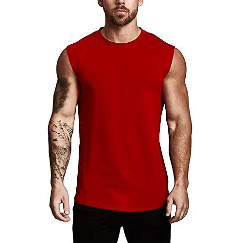 Atlético Entrenamiento Camisetas Sin Mangas Sin Mangas Musculación Camisetas para Correr Entrenamiento Secado Rápido Gimnasio Ropa Deportiva Rojo XL