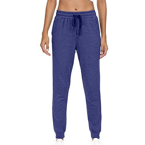 GenericBrands Pantalon Chandal Mujer Pantalón Elástico con Cinta Largos Pantalones de Deporte Yoga Fitness Jogger Pantalones de Punto de Rayas