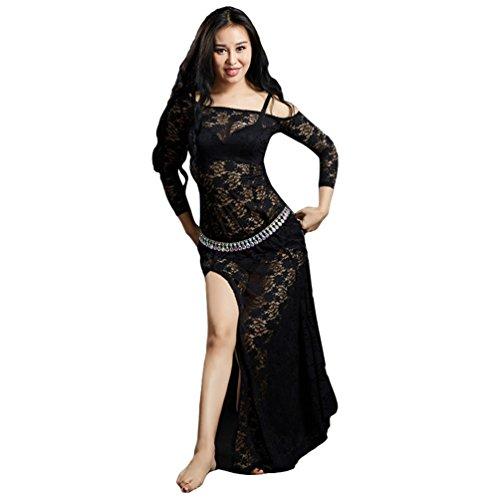 YiiJee Donna Danza del Ventre performante Costume Belly Dance Abbigliamento Vestito Set Nero