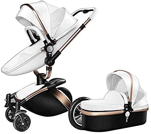 FXBFAG Cochecito de bebé Alto Paisaje Plegable Choque de Dos vías bebé Coche Puede Sentarse y Colocar Carro de luz (Color : Blanco, tamaño : 80x60x112cm)