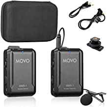 Movo WMX-1 2.4GHz Wireless Lavalier Microphone System Compatible with DSLR Cameras, Camcorders, iPhone, Android Smartphones, and Tablets (200' ft Audio Range)