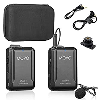 Movo WMX-1 2.4GHz Wireless Lavalier Microphone System Compatible with DSLR Cameras Camcorders iPhone Android Smartphones and Tablets  200  ft Audio Range