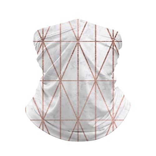 asdew987 triángulos geométricos oro rosa blanco mármol cuello Polaina cara máscara bandana calentador de cuello frío viento ligero hielo seda bufanda para hombres mujeres