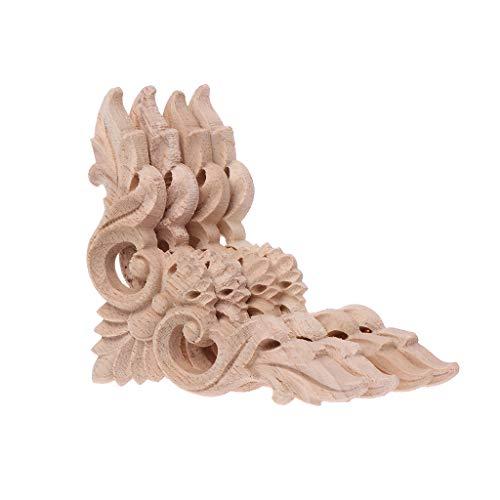 Angelliu Bois Sculpté 4pcs / Set Sculpté Coin Onlay Appliques Non Peint Cadre Placard Armoire Décalque Bois Sculpté Décalque pour Les Meubles De Maison Decor 8x8cm