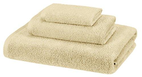 Amazon Basics Quick-Dry Towels - 100% Cotton, 3-Piece Set, Linen