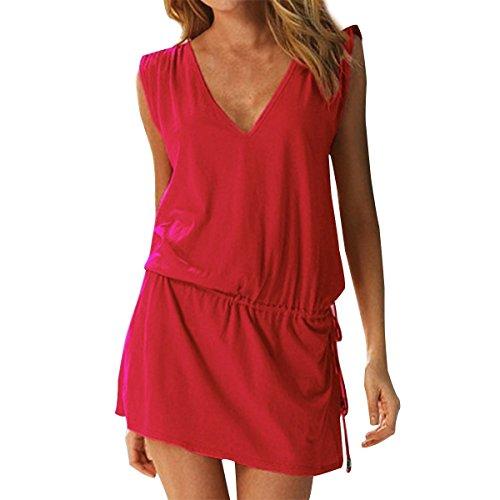 Landove - Vestido sin mangas para mujer, de verano, sexy, para la playa, informal, espalda abierta, para cócteles, ceremonias, fiestas.../ rojo Talla única
