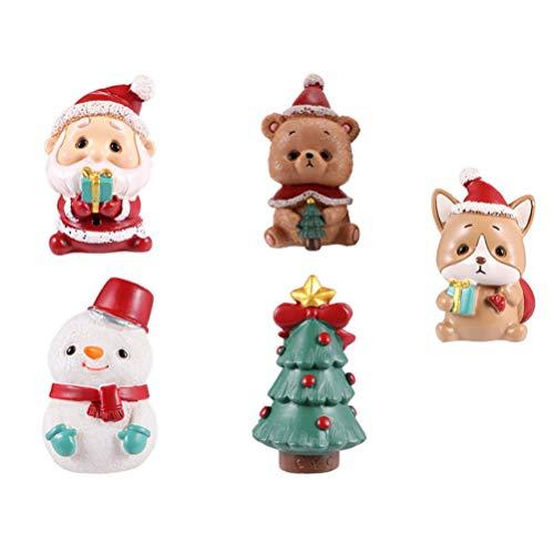 TOYANDONA 5pcs Cute Mini Christmas Ornament Christmas Santa Claus Bear Xmas Tree Figure Miniature Fairy Garden Ornament Christmas Dollhouse Decoration