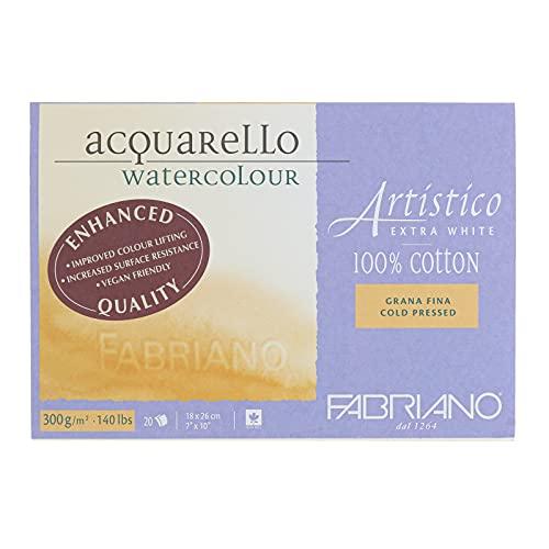 Fabriano Artistico Watercolor Block, 7 x 10, Extra White