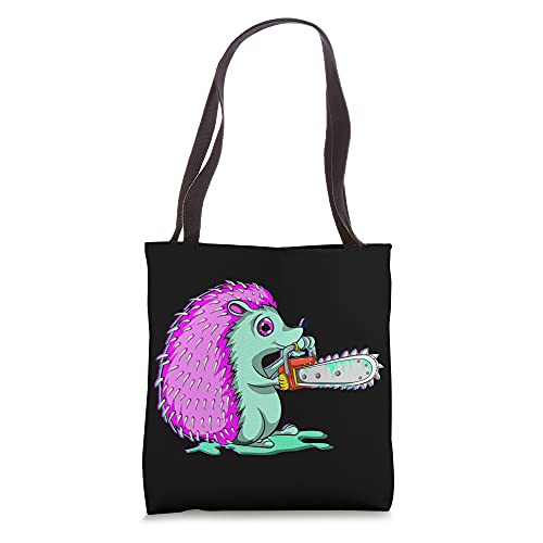 Creepy Forest Animal Chainsaw Vaporwave Scary Hedgehog Tote Bag