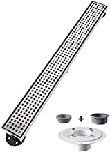 USHOWER 24-Inch Square Pattern Grate Linear Shower Drain, 304 Stainless Steel Brushed Nickel Shower Floor Drain, Includes Drain Flange Kit