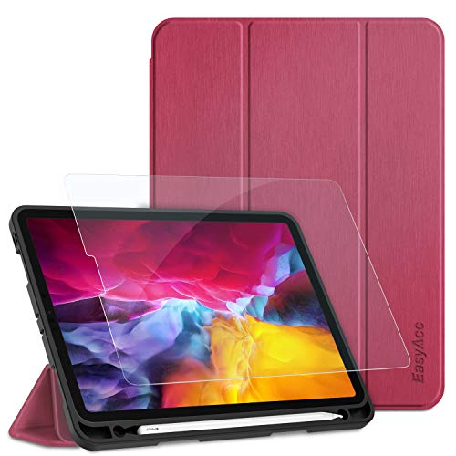 EasyAcc Hülle für iPad Pro 11 2020 mit Stifthalter Panzerglas, (Unterstützt Kabelloses Laden für Apple Pencil 2) Ultra Dünn mit Standfunktion Auto Sleep/Wake Up Funktion PU Leder Hülle,Pflaume lila