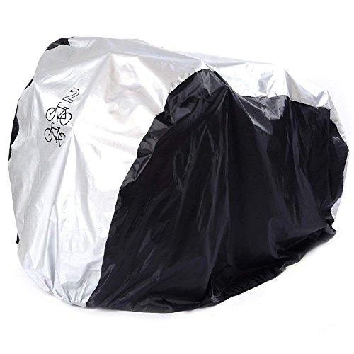 ANFTOP 200 * 75 * 110CM Copribici Bici Impermeabile Telo Protettivo Copertura per 2 Bicicletta Antipolvere Antivento Anti UV Copri Bicicletta Argento Nero
