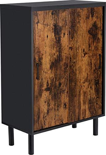 VASAGLE   Schrank für Flur, Schuhschrank Schiebetüren höhenverstellbaren Einlegeböden 100 x 70 x 35 cm   Schwarz/Braun