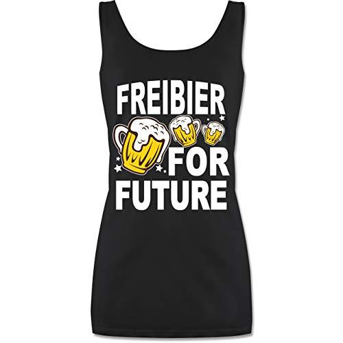 Shirtracer Oktoberfest & Wiesn Damen - Freibier for Future - 3 Biergläser - weiß - S - Schwarz - Tops Damen - P72 - Tanktop für Damen und Frauen Tops