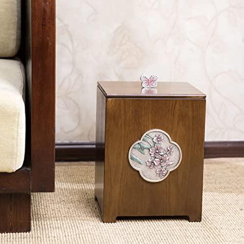 Cesta de reciclaje de papel de papel Cesta de madera Papelera cuadrada de madera Papelera de papel de desgaste simple con tapa de papelería creativa para dormitorio Sala de estar Bandeja de basura