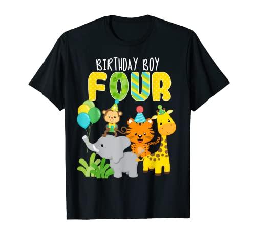 Zoo Safari animales de la selva 4 cumpleaños cumpleaños 4 años Camiseta