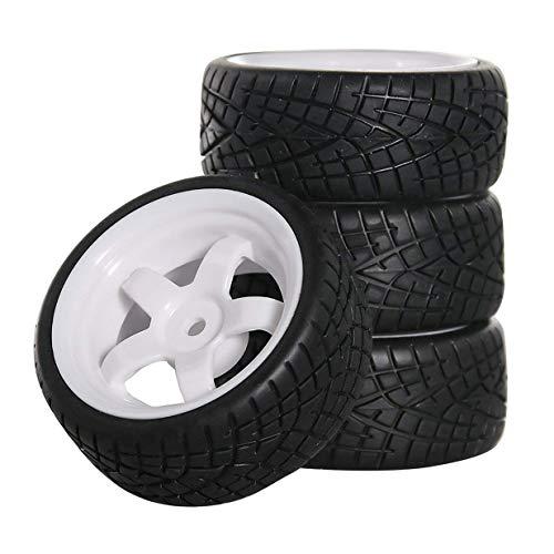 ShareGoo OD 2.55' 12mm Hex White 5-Spoke Plastic Wheel Rims & Rubber Tires Compatible with HSP HPI...