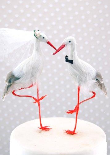 Crane-Topper per torta, motivo: 'Bride and Groom' Bird-Topper per 'torta nuziale, motivo cicogna %2F airone %2F Egret