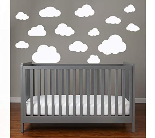 MacDecal.de Wolken Set 16x Große Wolke Wandtattoo Wandaufkleber Sticker Aufkleber Wand Himmel Baby (Wolkenset 16 Teilig, Weiß)