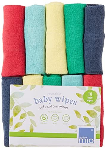 Bambino Mio, Toallitas para bebé reutilizables, Paquete de 10Uds, Arcoíris