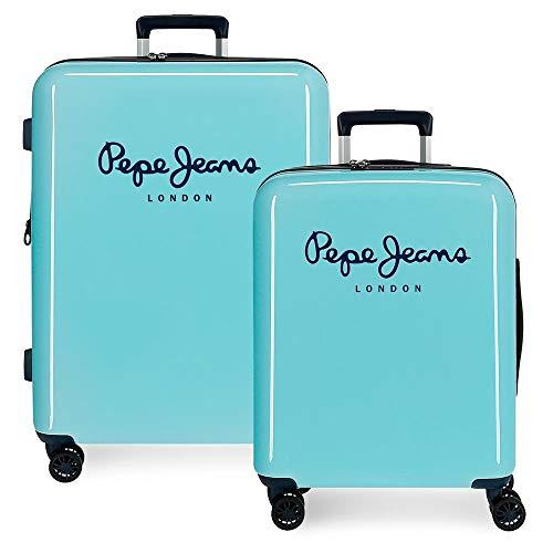 Pepe Jeans Albert Juego de Maletas Verde 55/70 cms Rígida ABS Cierre TSA Integrado 119,5L 7,1 kgs 4 Ruedas Dobles Equipaje de Mano
