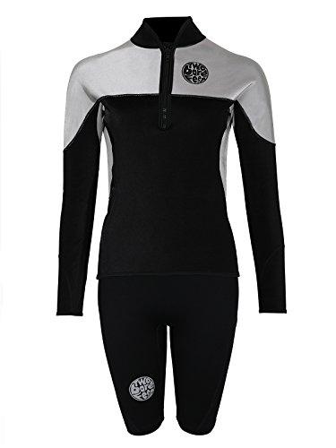 Two Bare Feet Ensemble veste et short en peau de requin thermique coupe-vent pour femme, Jacket (2XL) + Shorts (XS)