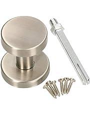 KOTARBAU Deurknop van roestvrij staal, deurknop, niet draaibaar, kogelknop, cilindervorm, deurgreep, deurklink, deurbeslag, universeel, mat rozet