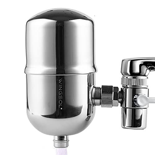 WINGSOL Faucet Water Filter Stainless-Steel Reduce Chlorine Speedy Flow, Japan PAC Filter Improve Taste, Faucet Filters for Faucets-Fits Standard Faucets