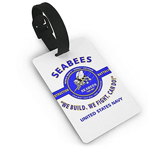 Azul marino Se-ab-ees - Identificadores de equipaje de piel sintética de microfibra con cordón para nombre y accesorios de viaje, etiquetas de identificación de varios colores para maleta de avión