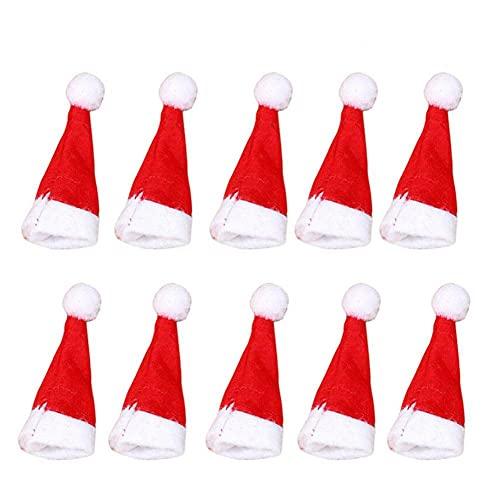 10 Stück/Set Weihnachtsdekoration Kreative Mini Santa Claus Hut Champagner Rotweinflasche Lollipop Top Dekorative Xmas Party Ornament