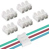 FULARR 40Pcs CH3 Conectores Cable Resorte, Conector Resorte Conector Rápido Kit, Conector de Bloque Terminal de Clamp de Cable Eléctrico, para Conectar Tiras de Luz LED –– Blanco