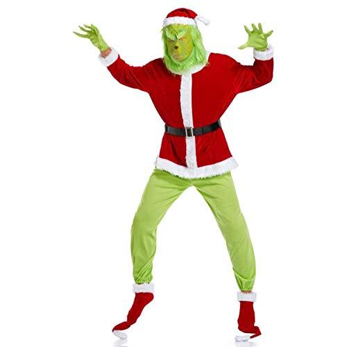 W-life Grinch Costume della Santa di Natale del Vestito Operato Vestito con Maschera Cappello di Natale for Adulti Party Dress Halloween, 7pcs   Set Mostro Verde dei Capelli (Size : XX-Large)