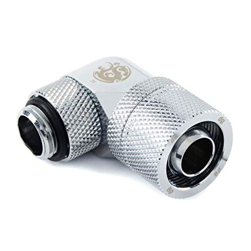 """Bitspower G1/4"""" to 3/8"""" ID, 5/8"""" OD Compression Fitting for Soft Tubing, CC3 Ultimate, 90° Dual Rotary, Silver Shining"""