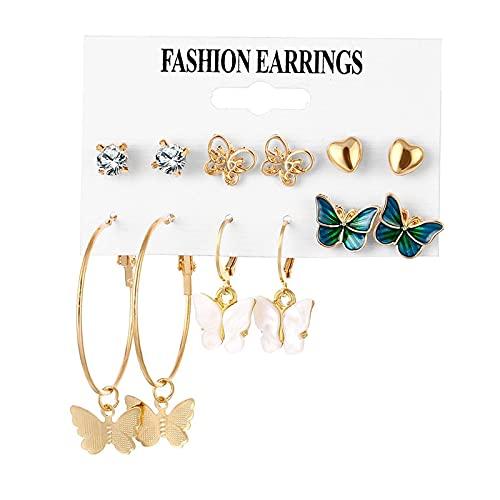 FEARRIN Pendientes Vintage Rhinestone Stud Vintage Pendientes de perlas para mujer Cruz de oro Conjunto de pendientes de borla larga mariposa cuelgan pendientes de gota joyería H97-KM0383-10