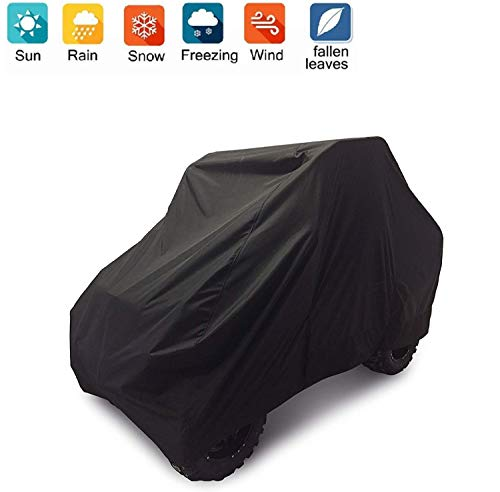 Nomiou Waterproof UTV Cover with Storage Bag Heavy Duty Black Protects 4 Wheeler From Snow Rain Dust and Sun, 115 x 59 x 75 inch
