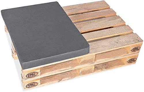 TexDeko - Mezzo cuscino per pallet e pallet Europallet 1/2 (60 x 80 cm), imbottito per interni ed esterni (altezza imbottitura: 8 cm, bordeaux