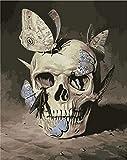 HRKDHBS Pintura Al Óleo De Bricolaje Cráneo Kit De Pintura Digital DIY Niños Principiantes Artes Manualidades Decoración 40X50Cm (Tener Marco)