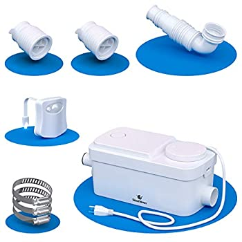 Silent Venus Basement Shower Pump  white  - Light Duty Gray Water Pump - Upflush Toilet System - Bathroom Sink - Motion Light Included