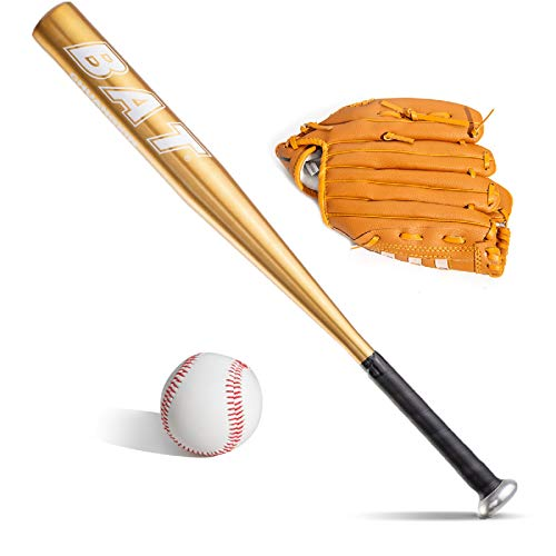 Baseballball-Set mit Baseballschläger und Baseball-Handschuh, Aluminium, 63,5 cm, Sicherheits-Baseballschläger und Ball-Set, Selbstverteidigung, Jugendliche, Erwachsene