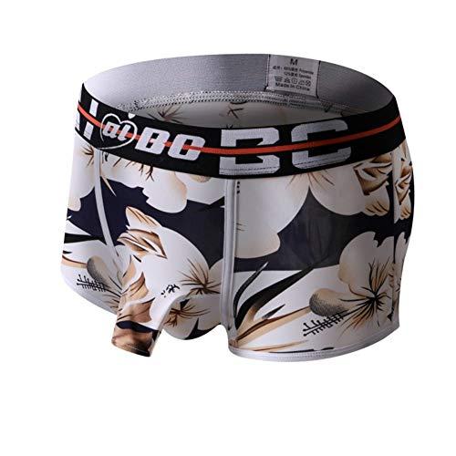 CNBPLS sous-Vêtements pour Hommes U-Convexe Poche Boxer Briefs De Faible Hauteur des Hommes Sexy Boxeur Slips Haut Étirement Underwea Hommes,Rice Flower,M