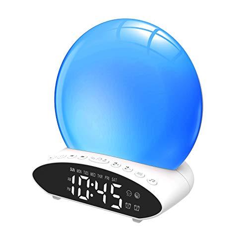 LED Zonsopkomst & Zonsondergang Wakker Worden Licht,Projectie Wekkerlamp,Kleurrijke Sfeerverlichting,Slaapmiddel & Dubbele wekker,5 Natuurlijke geluiden en Snoozen,voor Slaapkamers
